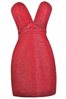 Red Strapless Cocktail Party Holiday Dress