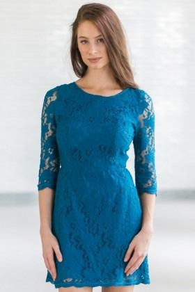 Turquoise Blue Lace Open Back Cocktail Party Dress