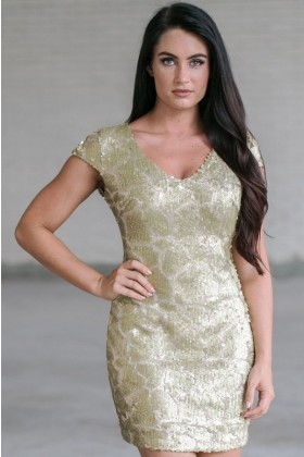 Gold Sequin New Years Eve Party Dress