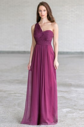 Plum Purple One Shoulder Maxi Bridesmaid Dress