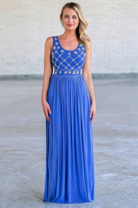 Blue Pearl Maxi Formal Prom Dress