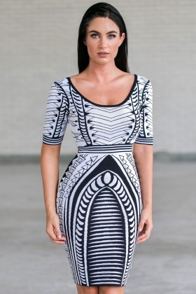 Black and White Printed Sweater Dress