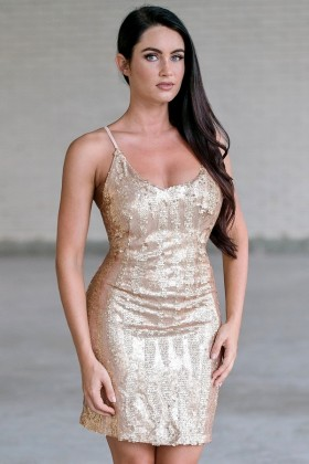 Gold Sequin Cocktail New Years Holiday Party Dress