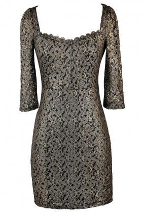 Black and Gold Lace Holiday New Years Eve Cocktail Dress