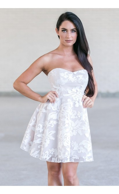 White Sequin Embellished Rehearsal Dinner Party Dress