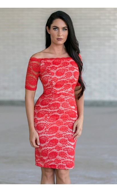 Lace Luxe Fitted Dress in Red Orange/Beige