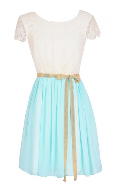 Dainty Delight Chiffon and Lace Designer Dress in Blue/Ivory
