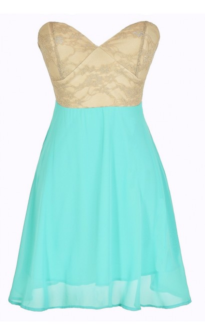 Strapless Floral Lace Bustier Dress in Jade/Taupe