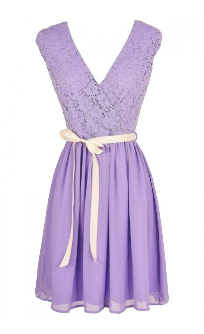 Faithfully Yours Lace and Chiffon Sash Dress in Lavender/Ivory