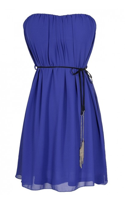 Chic Celebration Tassle Sash Chiffon Dress in Royal Blue