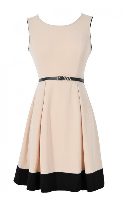 More Than Mod Beige and Black Belted A-Line Dress