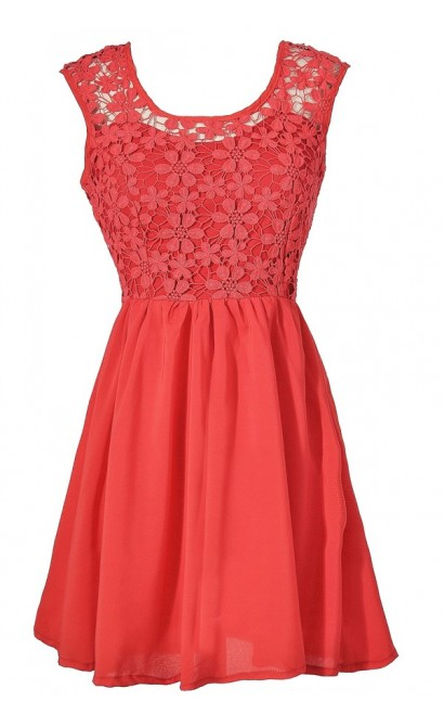 Bright Red Crochet Lace A-Line Party Dress, Red Crochet Lace Summer Dress, Red Lace Bridesmaid Dress