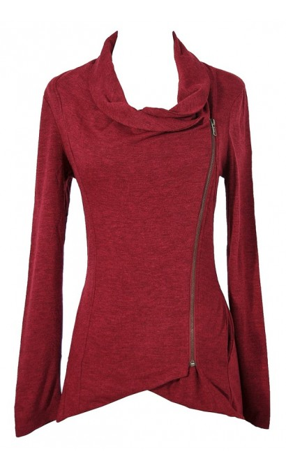 Cute Red Burgundy Crossover Sweater Jacket Top, Cute Red Casual Crossover Jacket