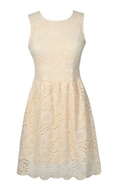 Cute Ivory Lace Dress, Off White Lace Rehearsal Dinner Dress, Ivory Lace A-Line Dress, Cute Off White Lace Dress