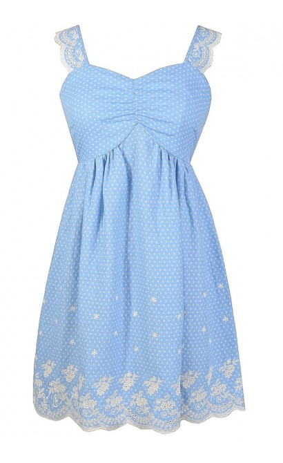 Blue and White Sundress, Blue and Ivory Embroidered Dress, Pale Blue Dress, Blue and White Summer Dress