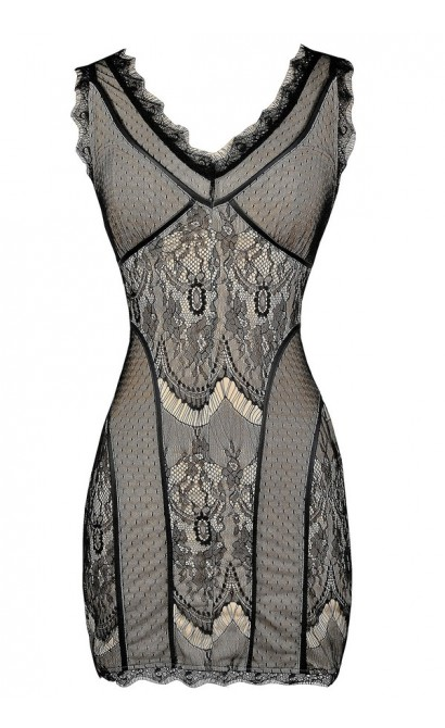 Black and Beige Lace Dress, Black Lace Bodycon Dress, Fitted Black Lace Dress, Black and Nude Lace Dress