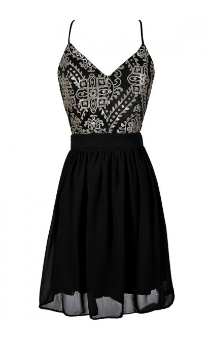 Black and Gold Dress, Black and Gold Open Back Dress, Black and Gold Sequin Dress, Cute Black and Gold Dress, Black and Gold A-Line Dress