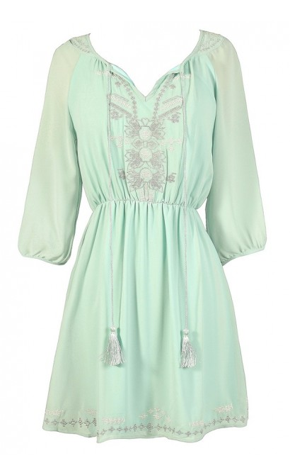 Cute Mint Dress, Mint Summer Dress, Mint Embroidered Dress, Mint Party Dress, Mint A-Line Dress, Mint Chiffon Dress