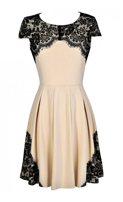 Black and Beige Lace Dress, Black and Beige Lace A-Line Dress, Black and Beige Party Dress, Cute Black Lace Dress, Beige Lace Dress,