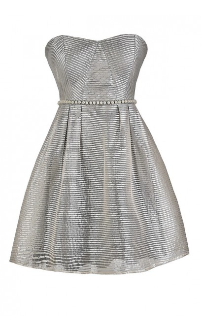Cute Grey Dress, Grey Stripe Dress, Grey Party Dress, Grey Pearl Dress, Grey A-Line Bridesmaid Dress, Grey Stripe Pearl Dress