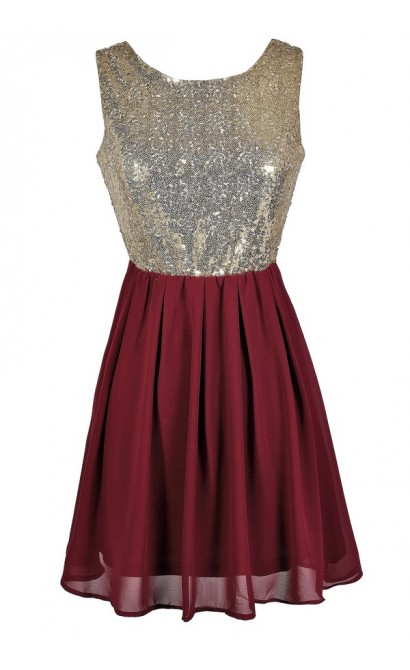 Burgundy and Gold Sequin Dress, Burgundy Party Dress, Burgundy Cocktail Dress, Cute Holiday Dress, Burgundy A-Line Party Dress, Burgundy and Gold Dress