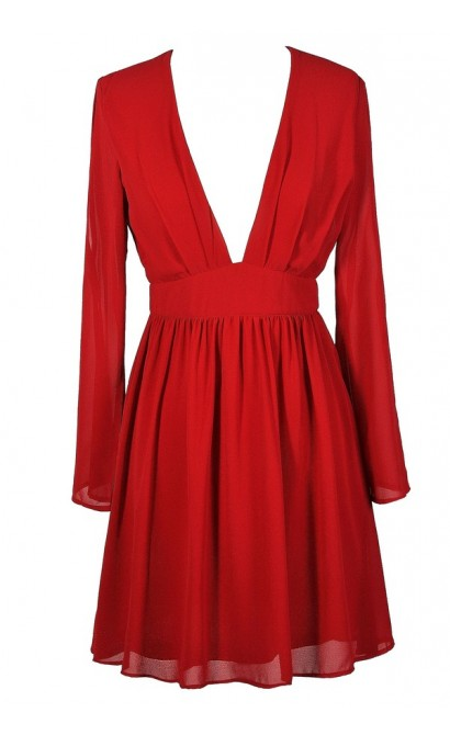 Cute Red Dress, Red Party Dress, Red Cocktail Dress, Red Longsleeve Dress, Red Open Shoulder Dress