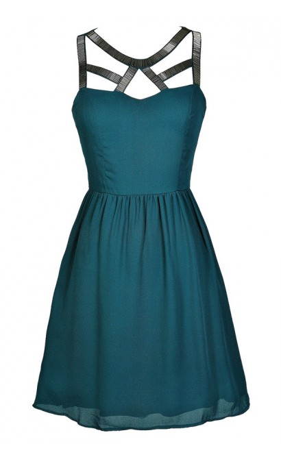 Teal Party Dress, Teal Cocktail Dress, Teal A-Line Dress, Beaded Teal Dress, Teal Cutout Neckline Dress, Jade Party Dress, Green Beaded Dress, Green A-Line Party Dress