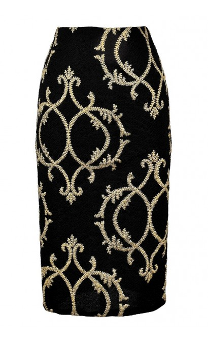 Black and Gold Pencil Skirt, Cute Black and Gold Skirt, Pattern Pencil Skirt