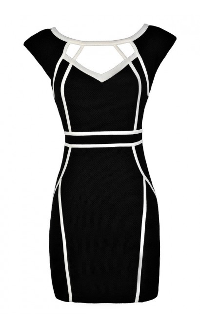 Cute Pencil Dress, Black Pencil Dress, Black and White Pencil Dress, Black and White Fabric Piping Pencil Dress, Black and White Cutout Pencil Dress, Black and White Party Dress