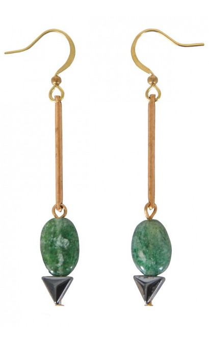 Green Drop Earrings, Cute Earrings, Cute Jewelry, Delicate Green Earrings, Gold Drop Earrings