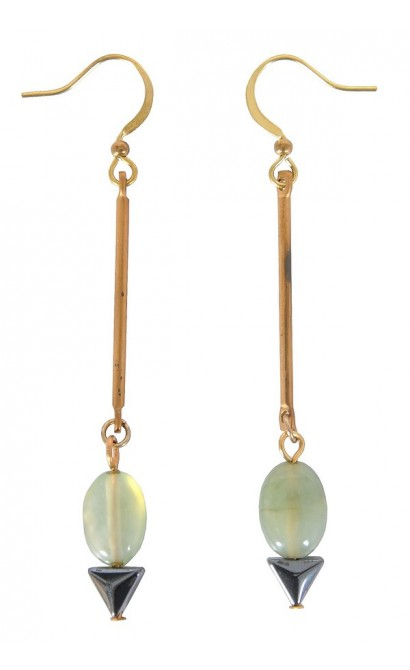 Green Drop Earrings, Cute Earrings, Cute Jewelry, Khaki Drop Earrings, Delicate Earrings, Gold Drop Earrings