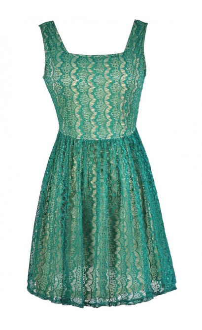 Turquoise Lace Dress, Teal Lace Dress, Green Lace A-Line Dress, Cute Lace Dress, Green Lace Summer Dress, Lace A-Line Dress, Lace Party Dress, Teal and Beige Lace Dress