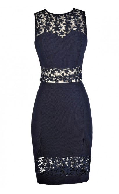 Navy Two Piece Outfit, Navy Two Piece Dress, Navy Crochet Lace Two Piece Dress, Navy Crop Top and Pencil Skirt, Crop Top and Skirt Outfit, Navy Summer Outfit