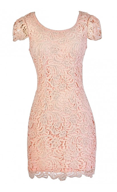 Pink Capsleeve Lace Dress, Pink Lace Pencil Dress, Pink Lace Party Dress, Pink Lace Summer Dress