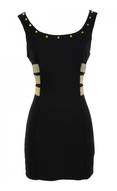 Studded Black and Gold Strappy Black Dress