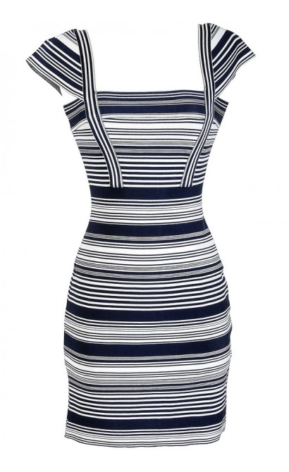 Navy and Ivory Stripe Bandage Sweater Dress