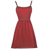 Burgundy Red Beaded Holiday Party Dress