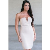 Nude Beige Strapless Cocktail Party Dress