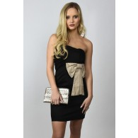 Bow Tie Affair Pencil Dress in Black/Taupe