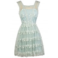 Cute Pale Blue Dress, Sky Blue Embroidered Dress, Pale Blue A-Line Party Dress