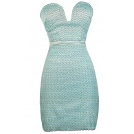 Aqua and Lime Bodycon Dress, Chevron Bodycon Dress, Plunging Neckline Bodycon Dress, Cute Party Dress