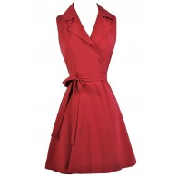 Cute Red Dress, Red Wrap Shirt Dress, Cute Work Dress