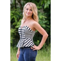 Black and Ivory Stripe Peplum Top, Strapless Peplum Top, Cute Top