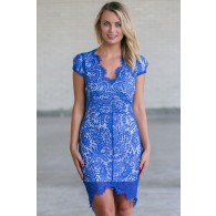 Bright Blue Lace Sheath Dress, Online Boutique Royal Blue Lace Dress, Cute Summer Cocktail Dress