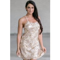 Gold Sequin Holiday New Years Dress