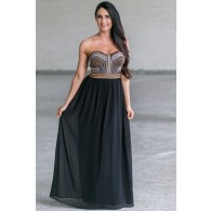 Black Strapless Embroidered Maxi Formal Dress