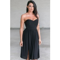 Rosalee Strapless Midi Dress in Black