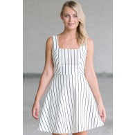 Black and White Striped Summer A-Line Dress