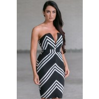 Cute Black and White Striped Cocktail Pencil Dress
