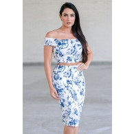 Cute Blue and White Floral Print Two Piece Outfit, Juniors Online Boutique